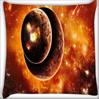 Snoogg Solar Eclipse Digitally Printed Cushion Cover Pillow 18 x 18 Inch