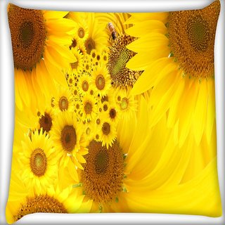 Snoogg Yellow Sunflowers Digitally Printed Cushion Cover Pillow 18 x 18 Inch