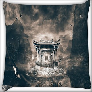 Snoogg Birds Flying Around The Small Temple Digitally Printed Cushion Cover Pillow 18 x 18 Inch