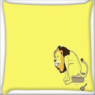 Snoogg The Lion On The Pot Digitally Printed Cushion Cover Pillow 18 x 18 Inch