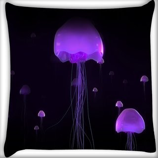 Snoogg Purple Black Octapus Digitally Printed Cushion Cover Pillow 18 x 18 Inch