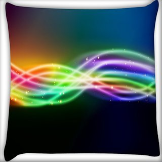 Snoogg Sparkling Rays In Dark Background Digitally Printed Cushion Cover Pillow 18 x 18 Inch