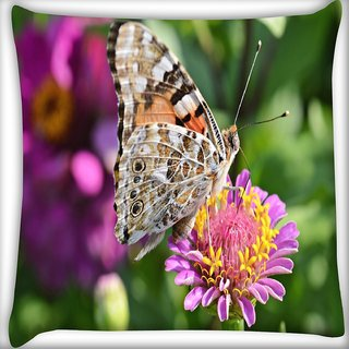 Snoogg Multicolor Butterfly In Pink Flower Digitally Printed Cushion Cover Pillow 18 x 18 Inch