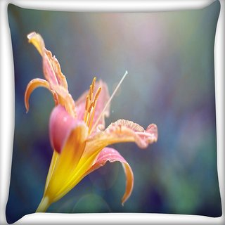 Snoogg Yellow Flower And Butterfly Digitally Printed Cushion Cover Pillow 18 x 18 Inch