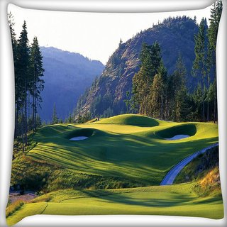 Snoogg Abstract Golf Park Digitally Printed Cushion Cover Pillow 18 x 18 Inch