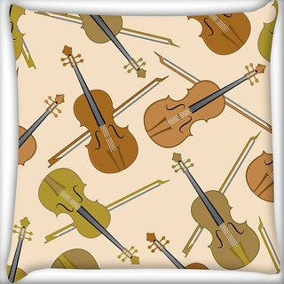Snoogg Violin Digitally Printed Cushion Cover Pillow 18 x 18 Inch