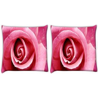 Snoogg Pink Rose Digitally Printed Cushion Cover Pillow 22 x 22 Inch