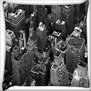 Snoogg Black And White City Digitally Printed Cushion Cover Pillow 18 x 18 Inch