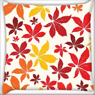 Snoogg Colorful Leaves Digitally Printed Cushion Cover Pillow 18 x 18 Inch