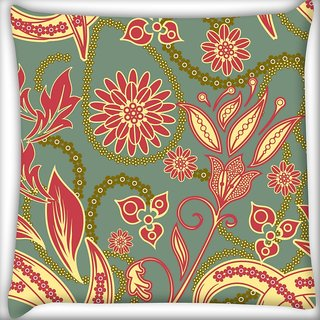 Snoogg Colorful Petals Digitally Printed Cushion Cover Pillow 18 x 18 Inch