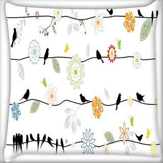 Snoogg Black Crows Digitally Printed Cushion Cover Pillow 18 x 18 Inch