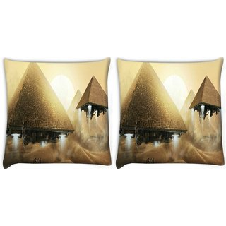 Snoogg Alien Pyramids Digitally Printed Cushion Cover Pillow 22 x 22 Inch