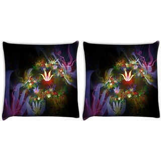 Snoogg Amazing Neon Flowers Digitally Printed Cushion Cover Pillow 22 x 22 Inch