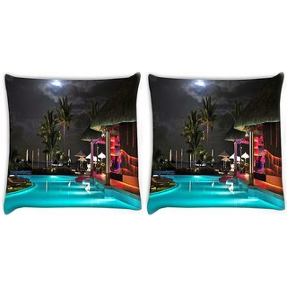 Snoogg Night On The Tropical Beach Digitally Printed Cushion Cover Pillow 22 x 22 Inch