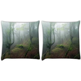 Snoogg Smkoed Dense Tree Digitally Printed Cushion Cover Pillow 22 x 22 Inch