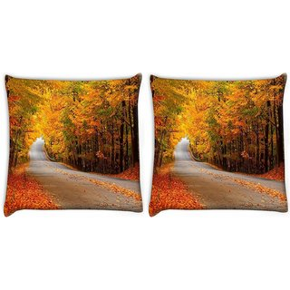 Snoogg Orange Leaves Digitally Printed Cushion Cover Pillow 22 x 22 Inch