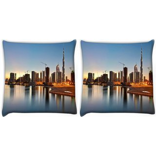 Snoogg Dubai The Dream City Digitally Printed Cushion Cover Pillow 22 x 22 Inch