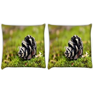 Snoogg Black Flower Digitally Printed Cushion Cover Pillow 22 x 22 Inch