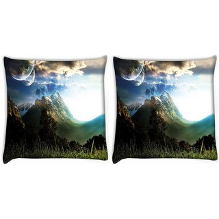 Snoogg Abstract Neon Nature Digitally Printed Cushion Cover Pillow 22 x 22 Inch