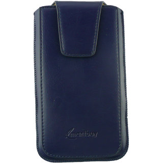 Emartbuy Blue Sleek Premium PU Leather Slide in Pouch Case Cover Sleeve Holder ( Size 4XL ) With Pull Tab Mechanism Suitable For Walton Primo F7