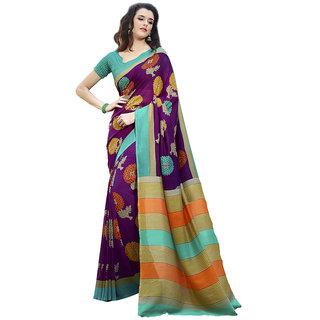 Yuvanika Multicolor Printed Bhagalpuri Silk Saree with Blouse-Fb9618B