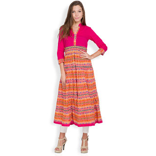 Vishudh Pink Printed Cotton Stitched Kurti