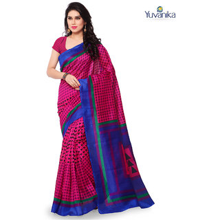 Yuvanika Multicolor Printed Bhagalpuri Silk Saree with Blouse-syuvef00098