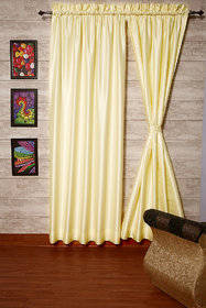 Pair of Ivory Faux Silk Satin Dupioni Curtains, Rod Top 2 Panels each 104 (265cm)Wide x 48 (122cm) Long  With Thick Satin Lining by ZappyCart.