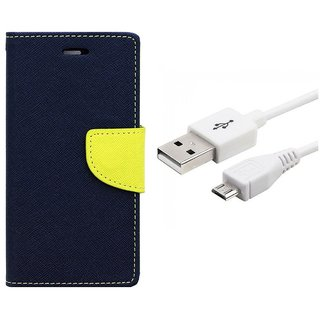 WALLET FLIP CASE COVER FANCY DIARY FLIP CASE COVER For Samsung Galaxy On7 BLUE WITH USB CABLE