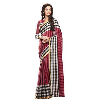 Yuvanika Multicolor Printed Cotton Saree with Blouse-Auaarushi