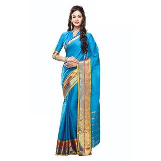 Yuvanika Multicolor Printed Cotton Saree with Blouse-Aunicole