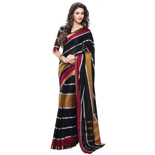 Yuvanika Multicolor Printed Cotton Saree with Blouse-Autaskeen