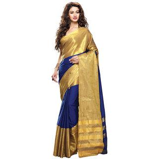 Yuvanika Multicolor Printed Cotton Saree with Blouse-Auzuri