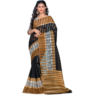 Yuvanika Multicolor Printed Bhagalpuri Silk Saree with Blouse-SDBC1100