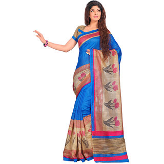Yuvanika Multicolor Printed Bhagalpuri Silk Saree with Blouse-SDRT12073