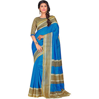 Yuvanika Multicolor Printed Bhagalpuri Silk Saree with Blouse-SDRT12088