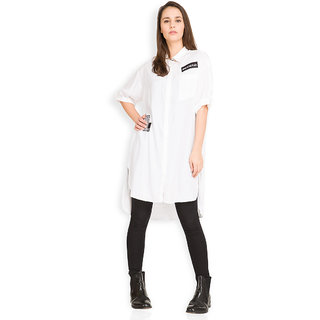 Tokyo Talkies White Solid Shirt Collar Elbow Sleeve Rayon Tunic