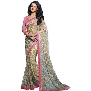 Yuvanika Multicolor Printed Bhagalpuri Silk Saree with Blouse-VIS2962