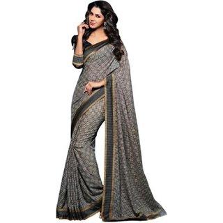 Yuvanika Multicolor Printed Bhagalpuri Silk Saree with Blouse-VIS2971