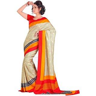 Yuvanika Multicolor Printed Bhagalpuri Silk Saree with Blouse-VIS5473