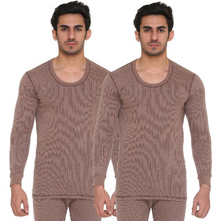 Vimal Blended Brown Thermal Top For Men (Pack Of 2)