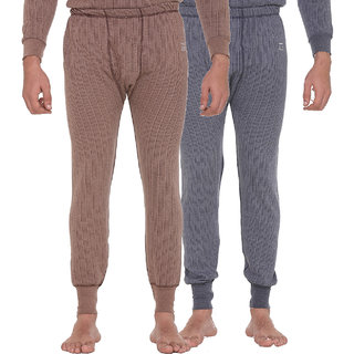 Vimal-Jonney Blended Multicolor Thermal Lower For Men (Pack Of 2)