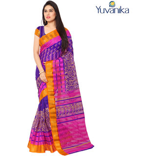Yuvanika Multicolor Printed Bhagalpuri Silk Saree with Blouse-yuvef000113