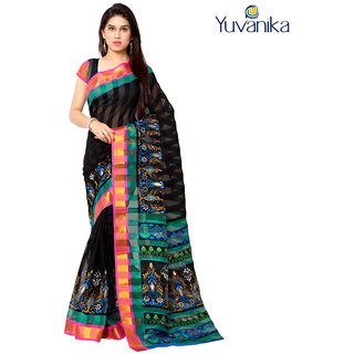 Yuvanika Multicolor Printed Bhagalpuri Silk Saree with Blouse-yuvef000123