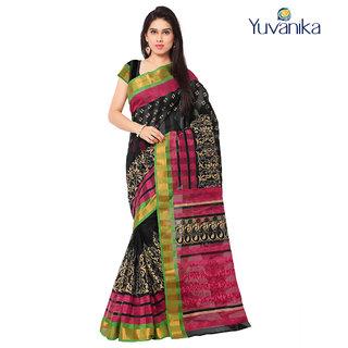 Yuvanika Multicolor Printed Bhagalpuri Silk Saree with Blouse-yuvef000126