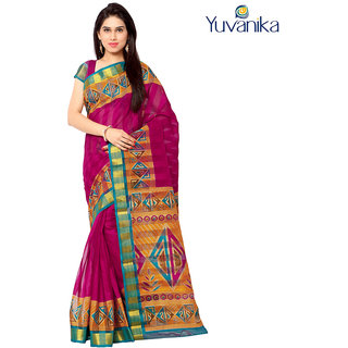 Yuvanika Multicolor Printed Bhagalpuri Silk Saree with Blouse-yuvef000127
