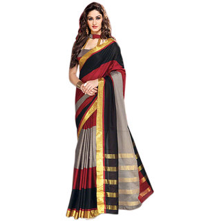 Yuvanika Multicolor Printed Cotton Saree with Blouse-AuDelsey
