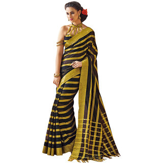 Yuvanika Multicolor Printed Cotton Saree with Blouse-AuFlame