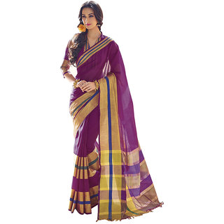 Yuvanika Multicolor Printed Cotton Saree with Blouse-AuIris