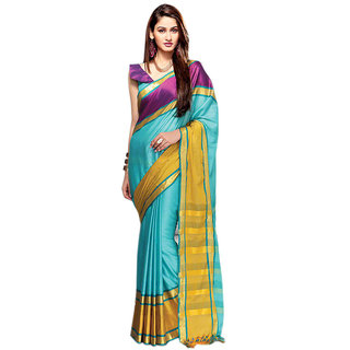 Yuvanika Multicolor Printed Cotton Saree with Blouse-AuPearl